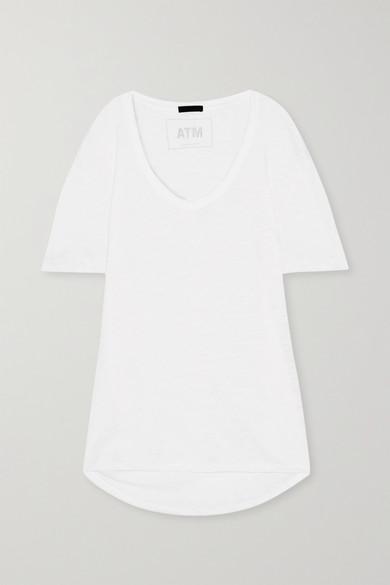 Atm Anthony Thomas Melillo Boyfriend Slub Cotton-Jersey T-Shirt In White