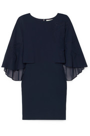 Embroidered cape-effect crepe dress