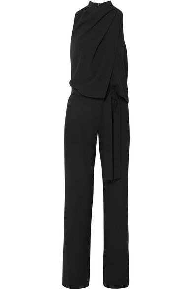 Sleeveless Drape Jumpsuit, Black