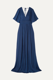 Cape-effect pleated crepe de chine gown