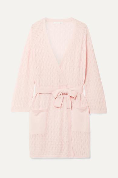 Malia Pointelle-Knit Wool-Blend Cardigan in Pastel Pink