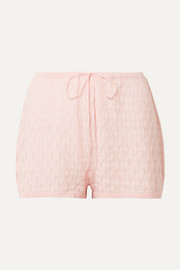 Madison Shortie pointelle-knit wool-blend pajama shorts