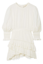 Lorelei tiered broderie anglaise cotton-gauze mini dress