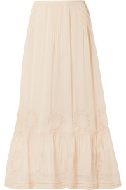 Hillary embroidered silk-georgette maxi skirt