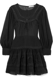Mallory lace-trimmed silk-chiffon mini dress