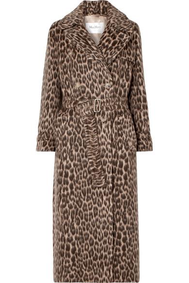 Max Mara - Fiacre Leopard-print Wool-blend Trench Coat - Camel