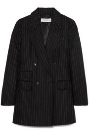 Double-breasted pinstriped wool and cashmere-blend blazer