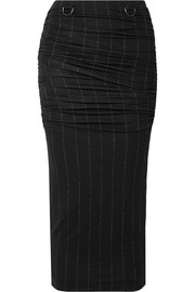 Dalida ruched pintriped stretch-jersey midi skirt