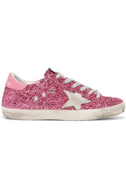 Golden Goose Deluxe Brand Superstar distressed glittered leather sneakers