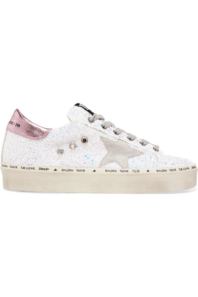ed0b5b18e599 Golden Goose. Hi Star distressed glittered leather sneakers