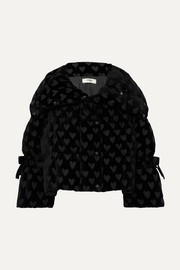 Velvet-jacquard quilted down jacket
