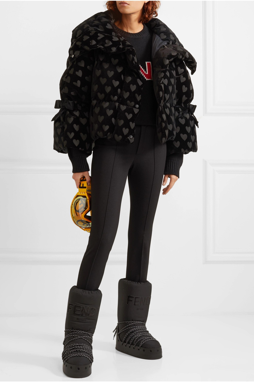 Fendi Velvet-jacquard quilted down jacket