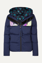 Appliquéd quilted down jacket