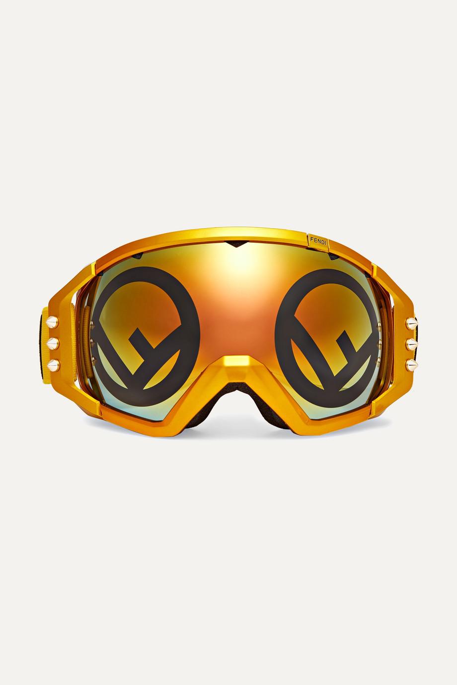 Fendi Golden Roma mirrored metallic ski goggles