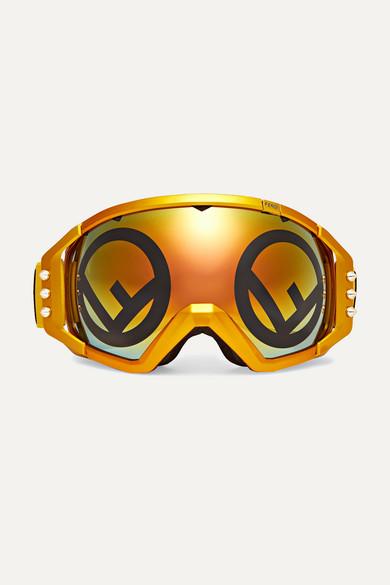 Golden Roma Mirrored Metallic Ski Goggles by Fendi