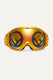 Golden Roma mirrored metallic ski goggles