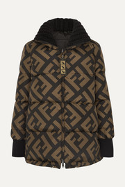 Reversible wool blend-trimmed printed quilted down ski jacket