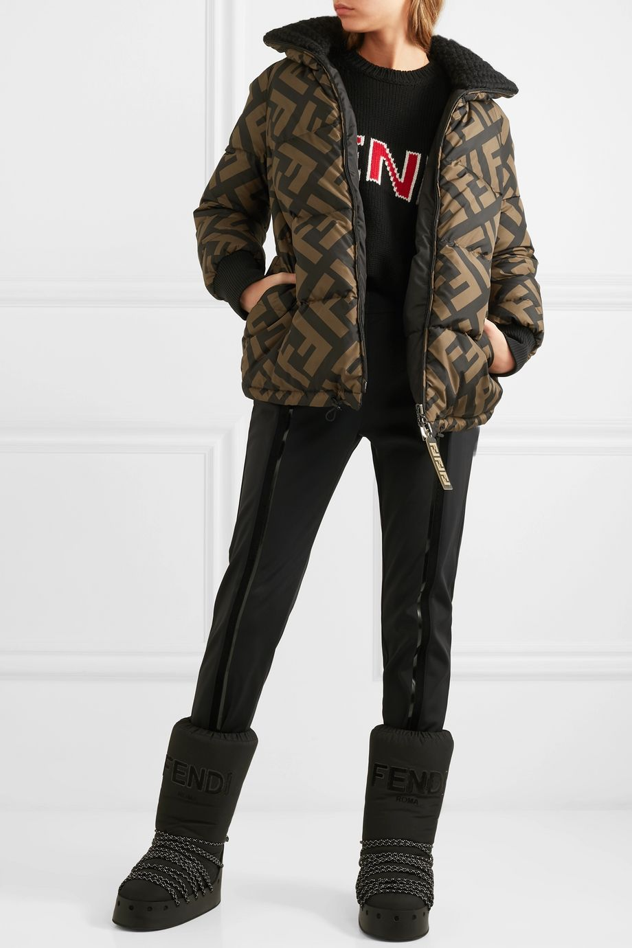 Fendi Reversible wool blend-trimmed printed quilted down ski jacket