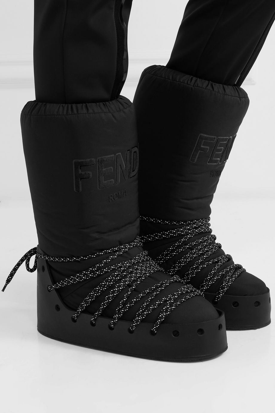 Fendi Logo-appliquéd jersey, leather and rubber snow boots