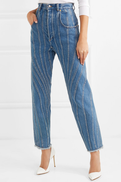 Paneled High Rise Straight Leg Jeans by Mugler