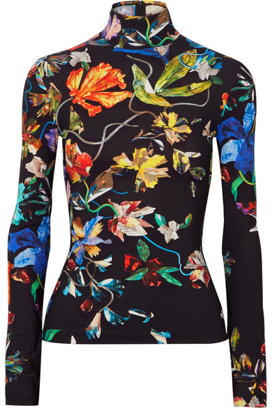 Mugler FLORAL-PRINT STRETCH-JERSEY TURTLENECK TOP