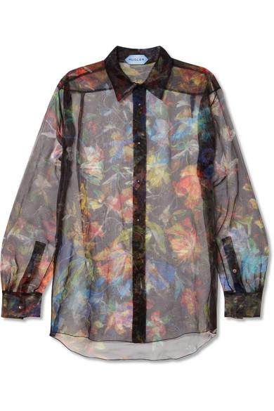 MUGLER Floral-print organza blouse