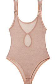 Phoebe metallic stretch-mesh bodysuit