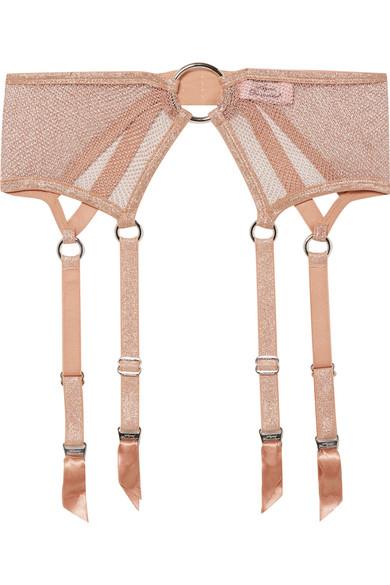 AGENT PROVOCATEUR Phoebe Metallic Stretch-Mesh Suspender Belt in Antique Rose