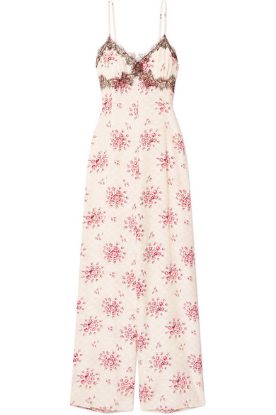 Bambi Lace-Trimmed Printed Silk-Charmeuse Jumpsuit in Pink