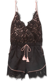 Emma lace and charmeuse playsuit