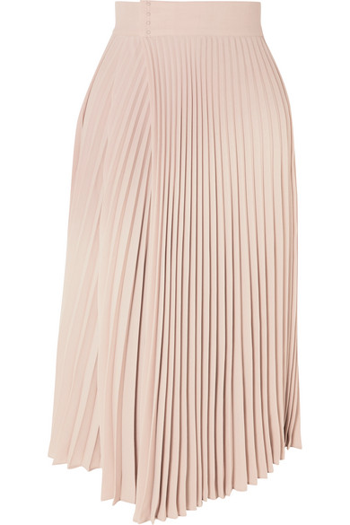 Pleated Wrap Effect Crepe De Chine Midi Skirt by Vince