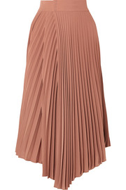 Pleated crepe de chine wrap skirt
