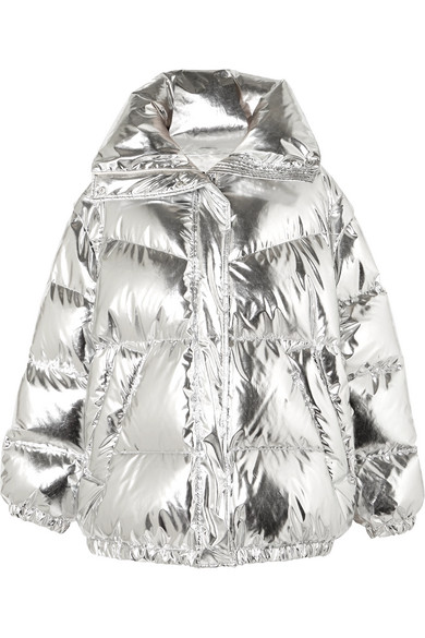 e154028a4 Oversized quilted metallic shell down jacket