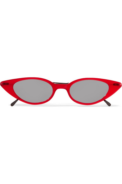 Marianne Cat-Eye Acetate And Gunmetal-Tone Sunglasses in Red