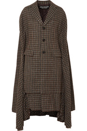 Cape-effect pleated checked twill coat