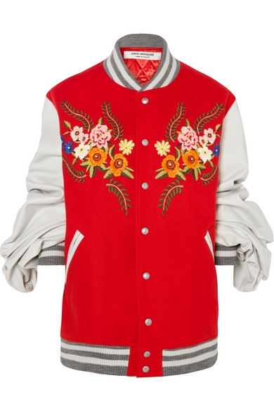 Oversized-Sleeve Wool-Blend And Leather Bomber Jacket in Red