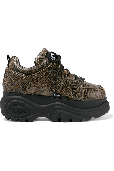 + Buffalo London Python-Effect Leather Platform Sneakers in Snake Print
