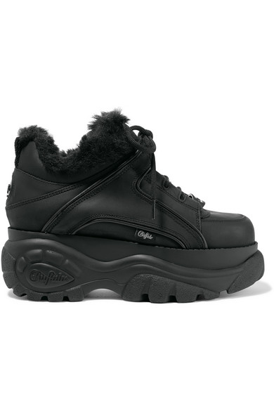 Buffalo London Faux Fur-Lined Leather Platform Sneakers in 1 Black