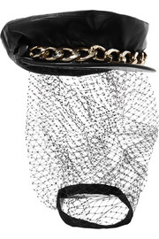 Eugenia Kim Marina chain-embellished tulle and leather cap