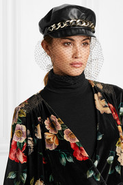 Marina chain-embellished tulle and leather cap