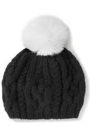 Genevieve pompom-embellished cable-knit baby alpaca beret