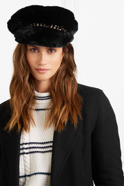 Marina chain-embellished faux fur cap