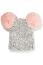 Mimi pompom-embellished ribbed wool-blend beanie