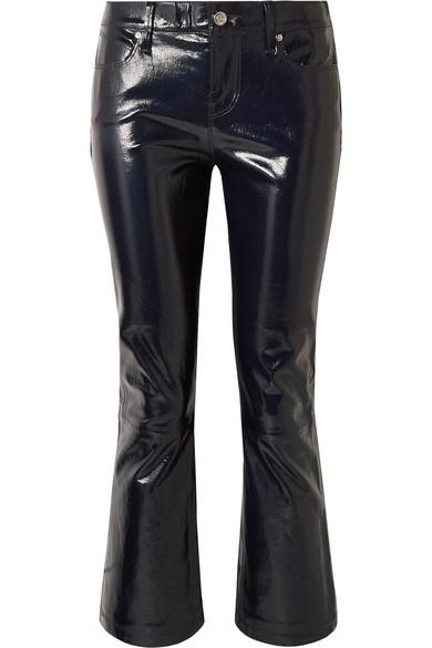 RTA Kiki Patent Leather Flare-Leg Cropped Pants in Black