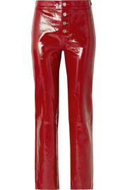 Max patent-leather straight-leg pants