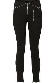 RtA Diavolina zip-embellished stretch-denim leggings