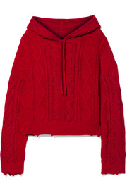 RtA Marvin hooded cable-knit cotton sweater