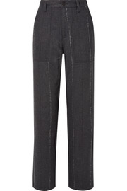 RtA Sergeant striped cotton-blend twill straight-leg pants