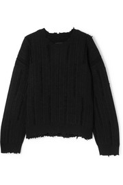 RtA Emmet distressed ribbed-knit sweater