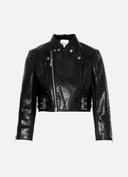 Cropped faux patent-leather biker jacket